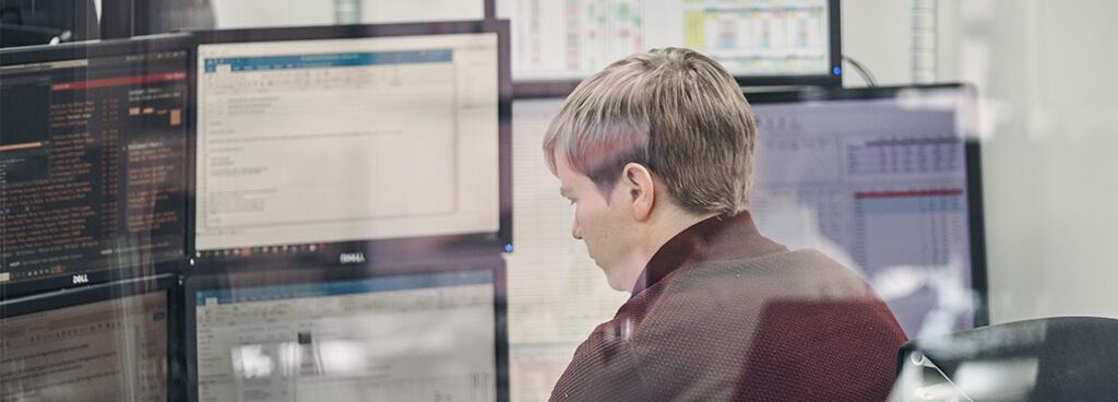 Trader looking at computer screen