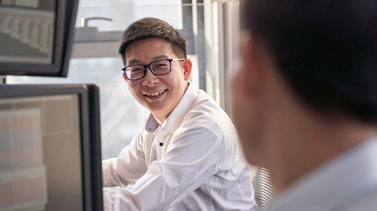 Man at work smiling