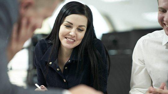 Woman at work smiling